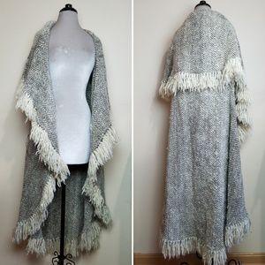 Vintage Hand Woven Alpaca Wool Sweater Cape Coat